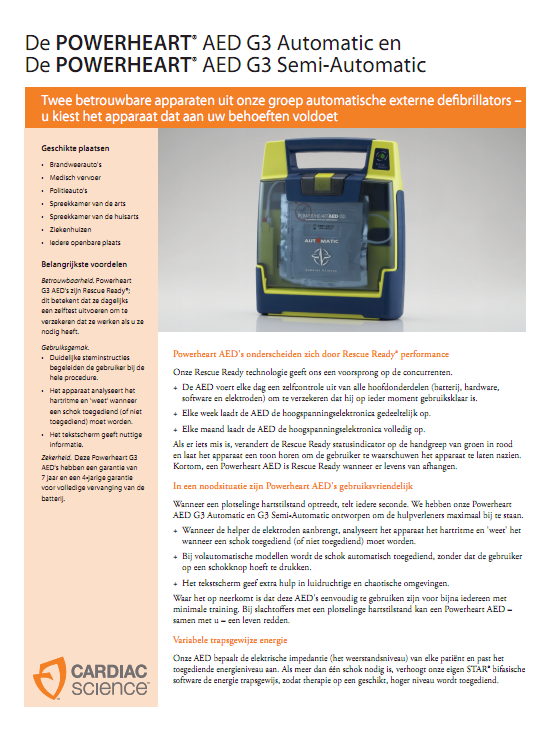 Brochure Cardiac Science Powerheart G3 semi-automaat AED