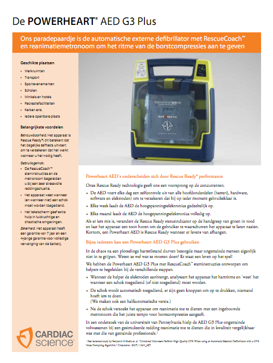 Brochure Cardiac Science Powerheart G3 semi-automaat PLUS AED