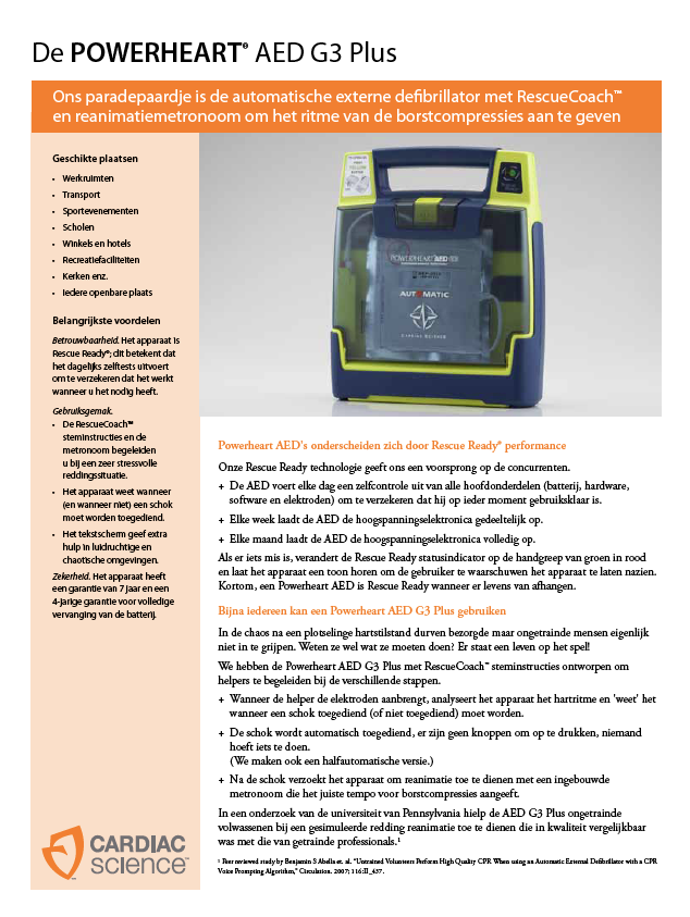 Brochure Cardiac Science Powerheart G3 vol-automaat PLUS AED
