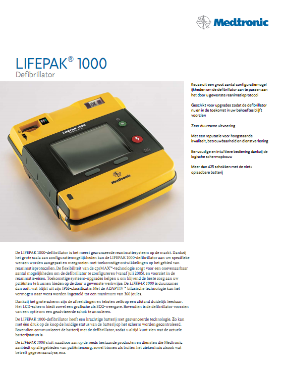 Brochure Medtronic Lifepak 1000 AED
