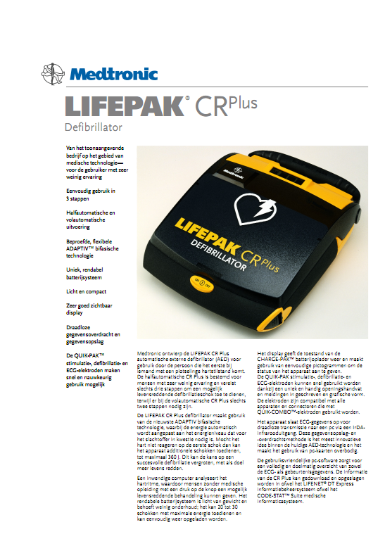 Brochure Medtronic Lifepak CR PLUS AED