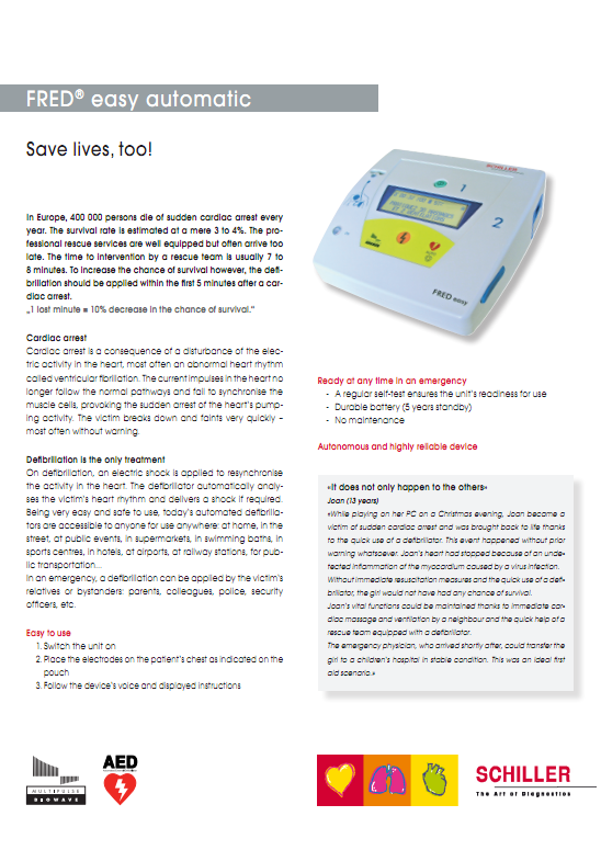 Brochure Schiller Fred Easy automatic AED