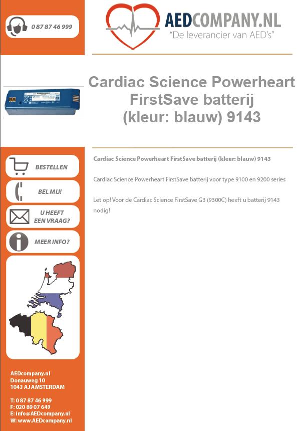 Cardiac Science Powerheart FirstSave batterij (kleur: blauw) 9143 brochure
