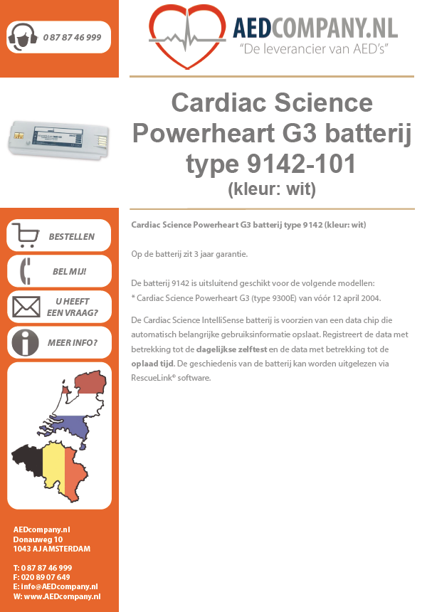 Cardiac Science Powerheart G3 batterij type 9142-101 (kleur: wit) brochure