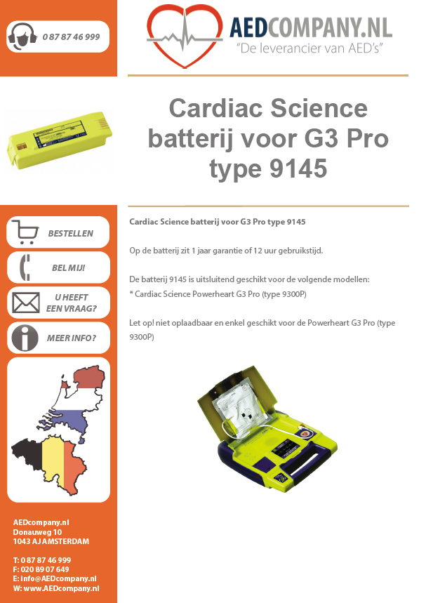 Cardiac Science batterij voor G3 Pro type 9145 brochure