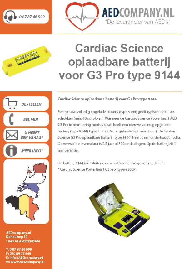 Cardiac Science oplaadbare batterij voor G3 Pro type 9144 brochure