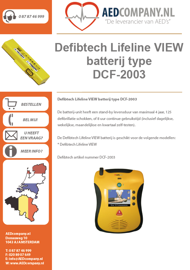 Defibtech Lifeline VIEW batterij type DCF-2003 brochure