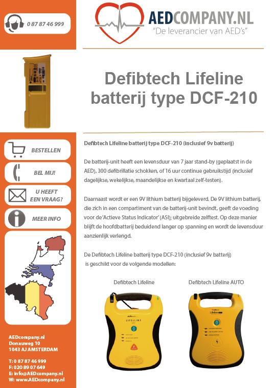 Defibtech Lifeline batterij type DCF-210 (inclusief 9v batterij) brochure