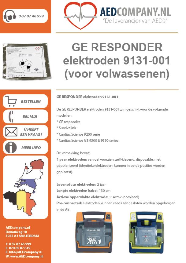 GE RESPONDER elektroden 9131-001 (voor volwassenen) brochure