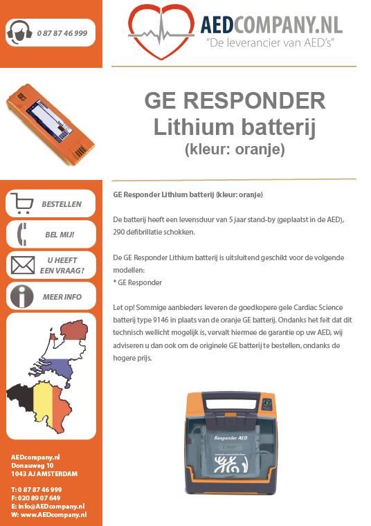 GE Responder Lithium batterij (kleur: oranje) brochure