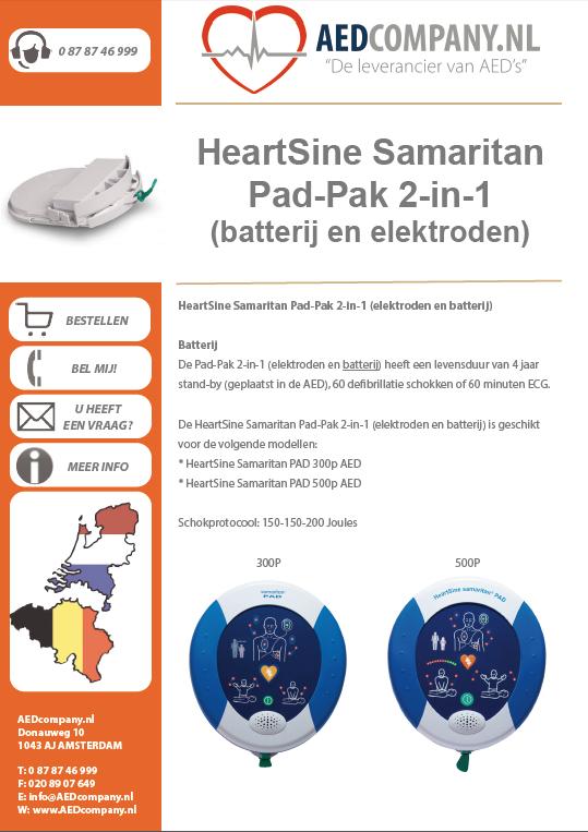 HeartSine Samaritan Pad-Pak 2-in-1 (batterij en elektroden) HEA0202 brochure
