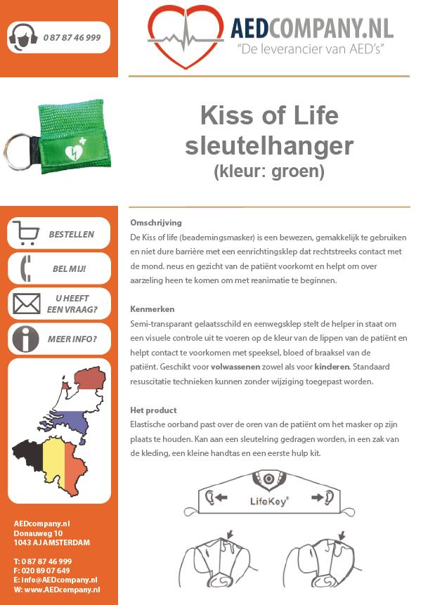 Kiss of Life sleutelhanger (kleur: groen) brochure