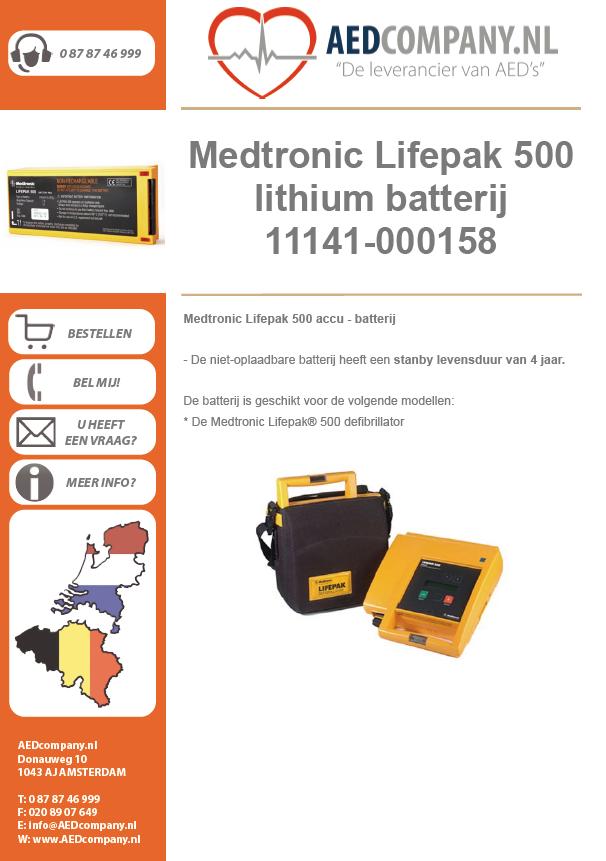 Medtronic Lifepak 500 lithium batterij / accu 11141-000158 brochure
