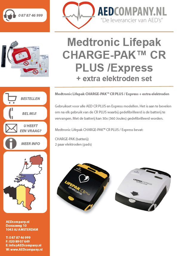 Medtronic Lifepak CHARGE-PAK™ CR PLUS / Express + extra elektroden set 11403-000001 brochure
