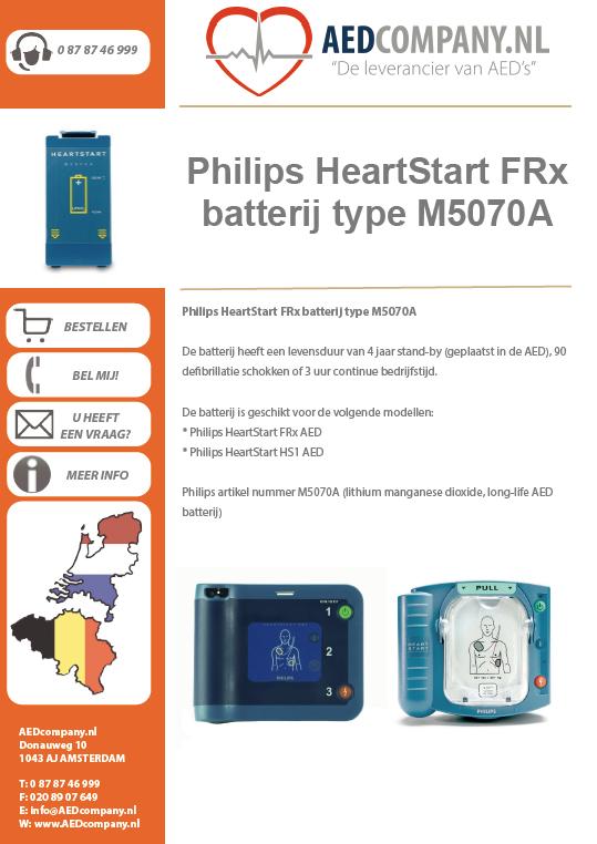 Philips HeartStart FRx batterij type M5070A brochure
