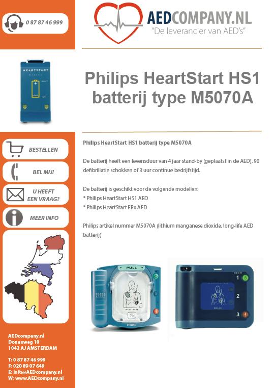Philips HeartStart HS1 batterij type M5070A brochure