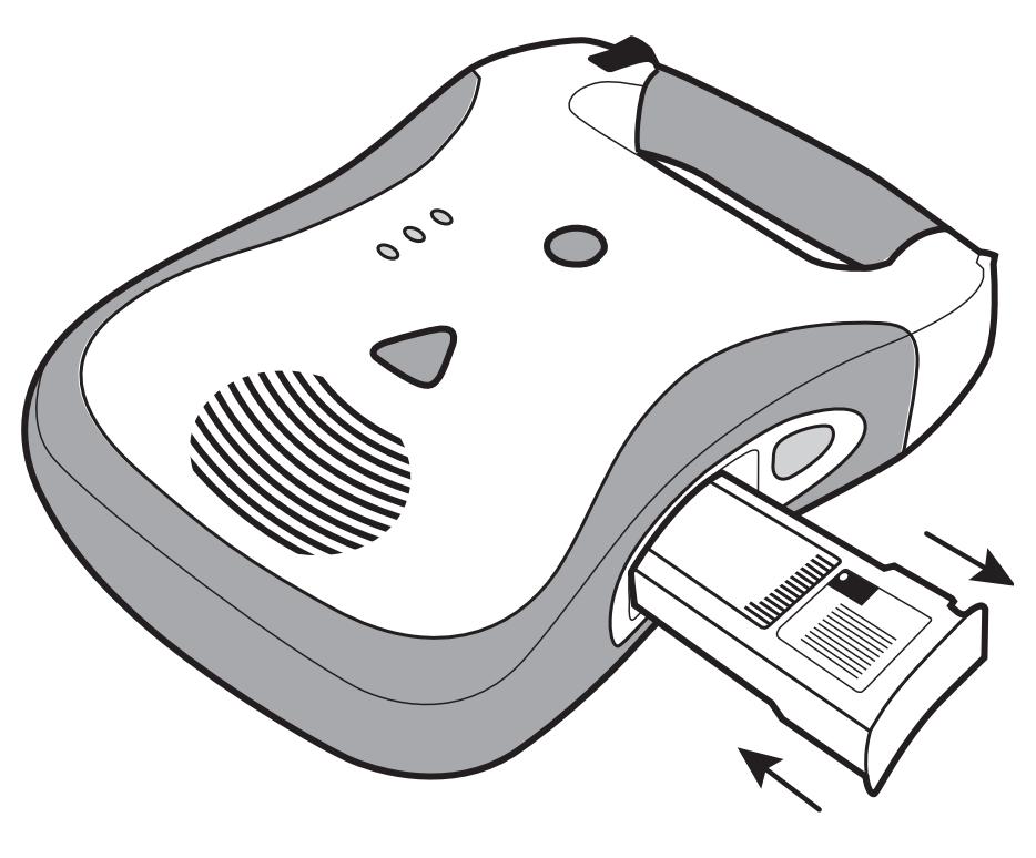 Plaats de gele Defibtech Lifeline batterijunit DCF-210 in de AED