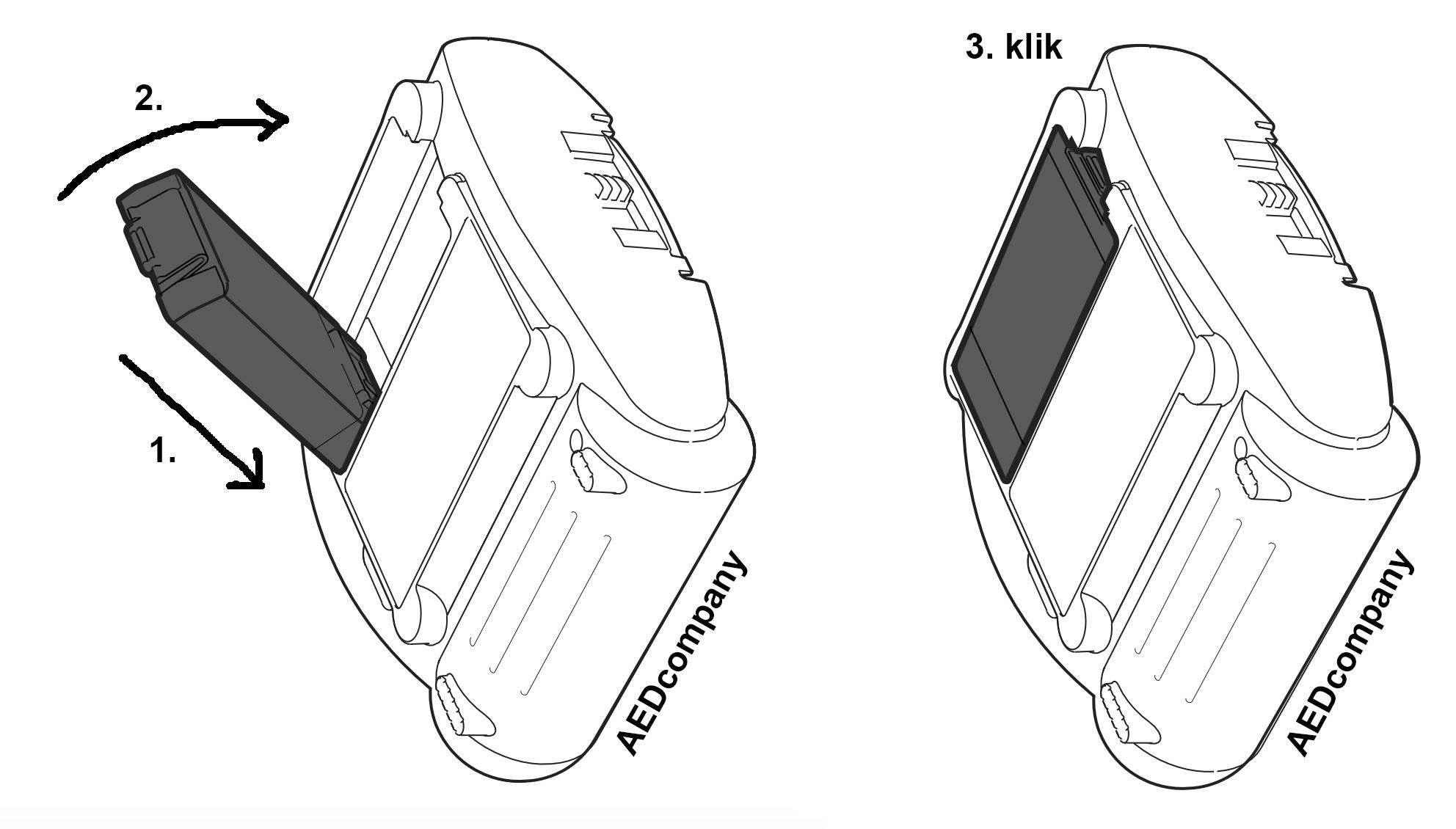 Plaatsen Philips HeartStart HS1 AED batterij type M5070A