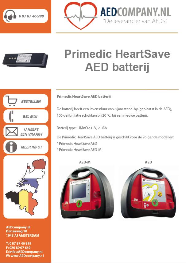 Primedic HeartSave AED batterij brochure