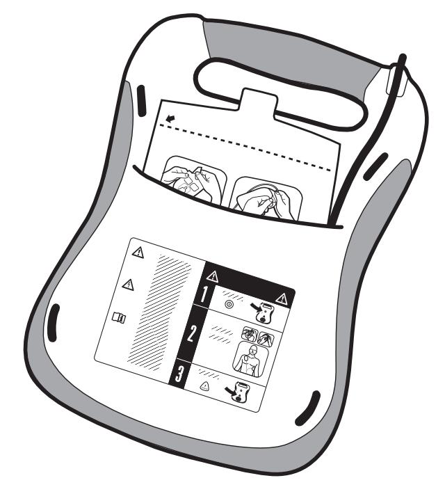 Steek Defibtech Lifeline AED elektroden DDP-100 achterin de opbergruimte van de AED