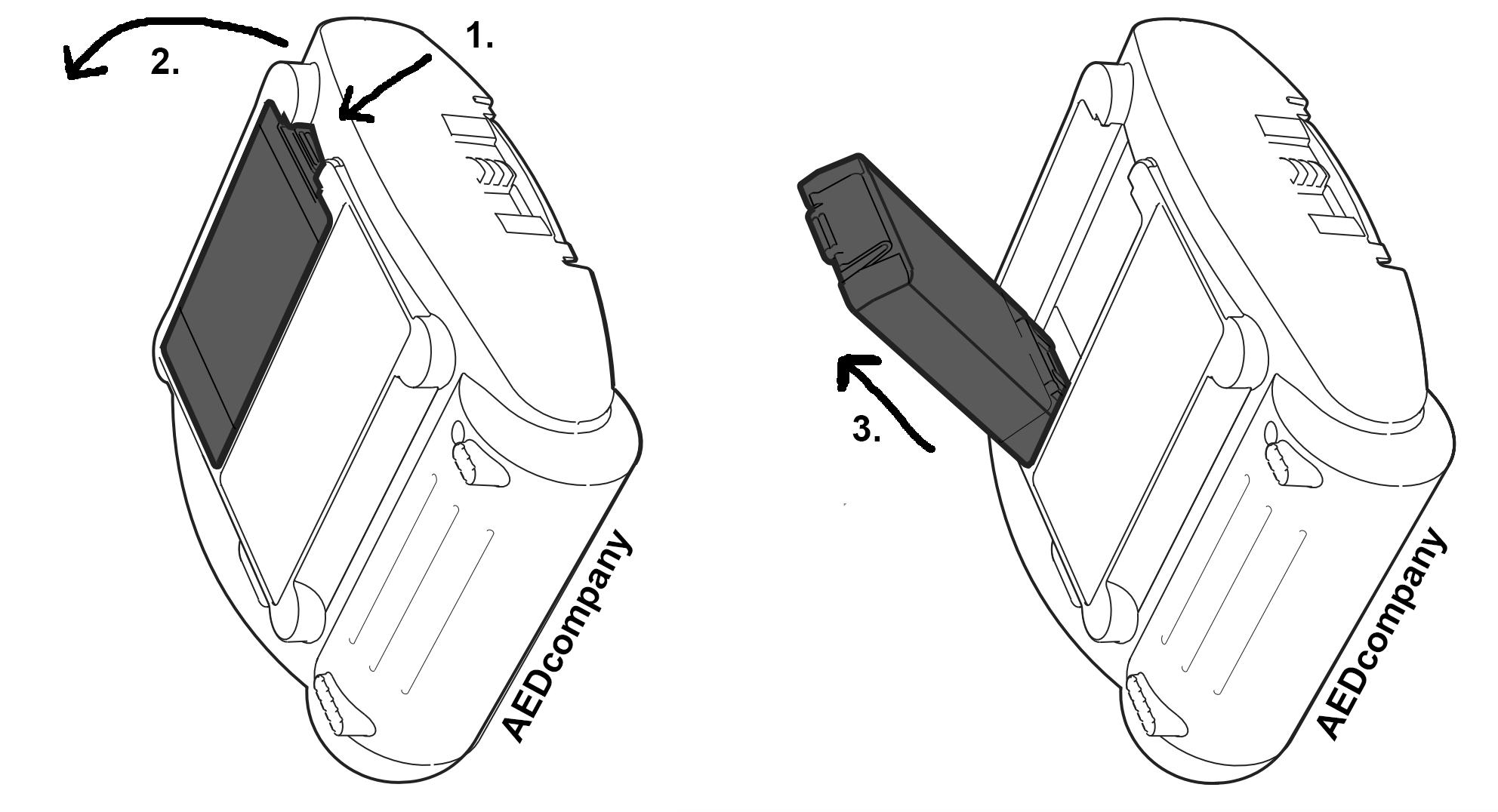 Verwijdere Philips HeartStart HS1 AED batterij type M5070A