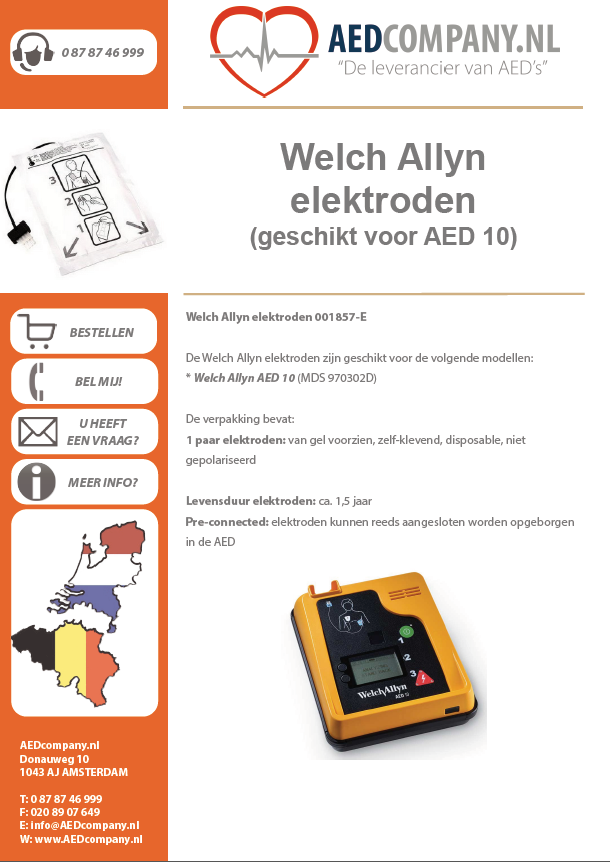 Welch Allyn elektroden pre-connected 001857-E brochure