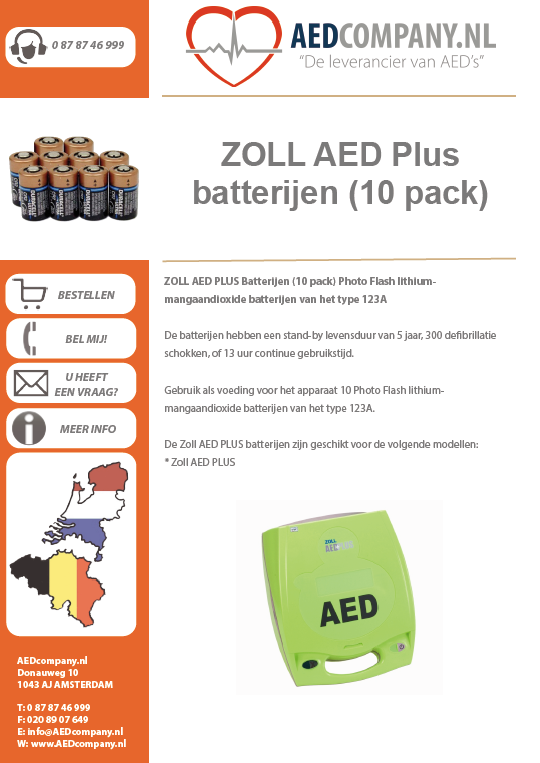 ZOLL AED Plus batterijen (10 pack) Lithium batterijen 3 volt brochure