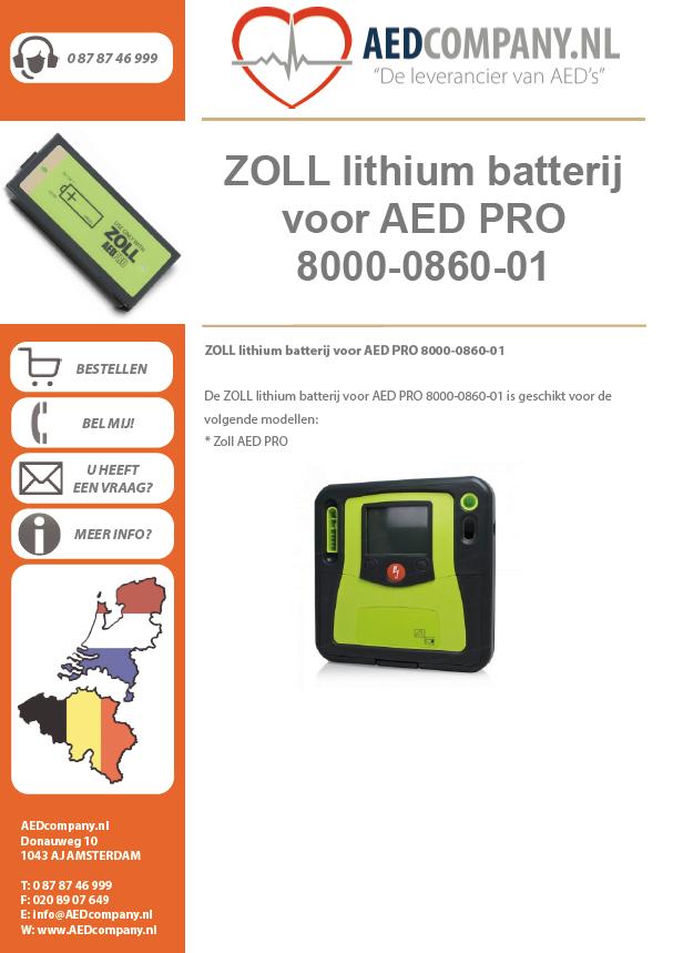 ZOLL lithium batterij voor AED PRO 8000-0860-01 brochure