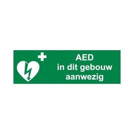 "AED pictogram ""AED in dit gebouw aanwezig"" 30 X 10 cm sticker ILCOR vinyl"