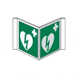 AED pictogram panoramisch bordje 20 X 20 cm polypropyleenbordje
