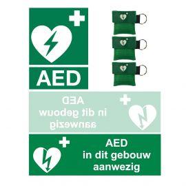 AED stickerset 3st. & 3st. GRATIS Kiss of Life sleutelhanger groen ilcor logo