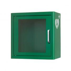 Universele AED wandkast kleur: groen UK1 met AED ILCOR logo dicht