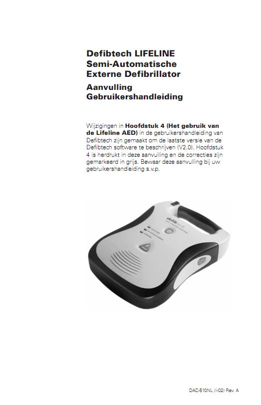 Aanvulling handleiding Defibtech Lifeline