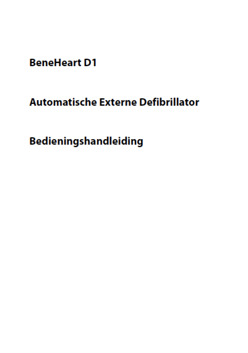 Handleiding MINDRAY BeneHeart D1 AED