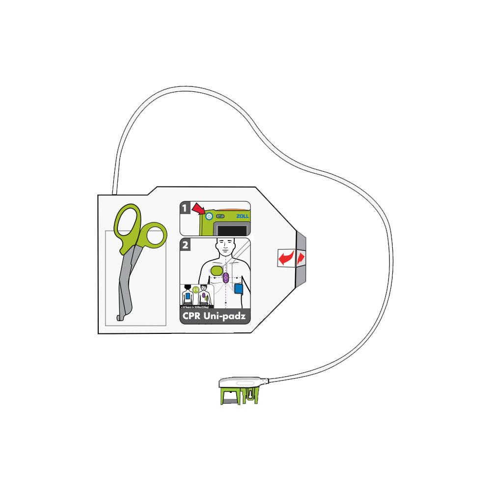 Haal de Zoll CPR Uni-Padz AED elektroden REF 8900-000260 uit de verpakking