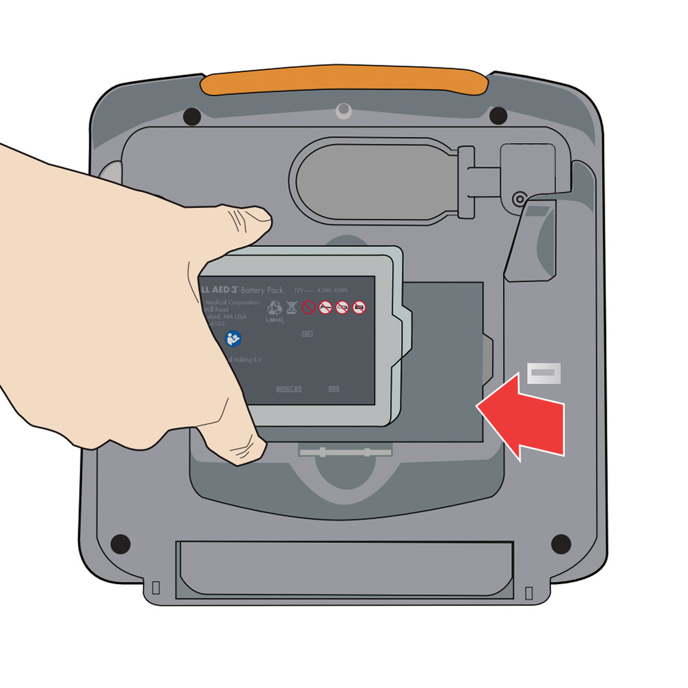 Installeer ZOLL AED 3 batterij accu