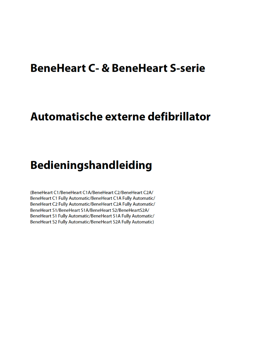 Mindray BeneHeart C1 C1A C-serie handleiding manual