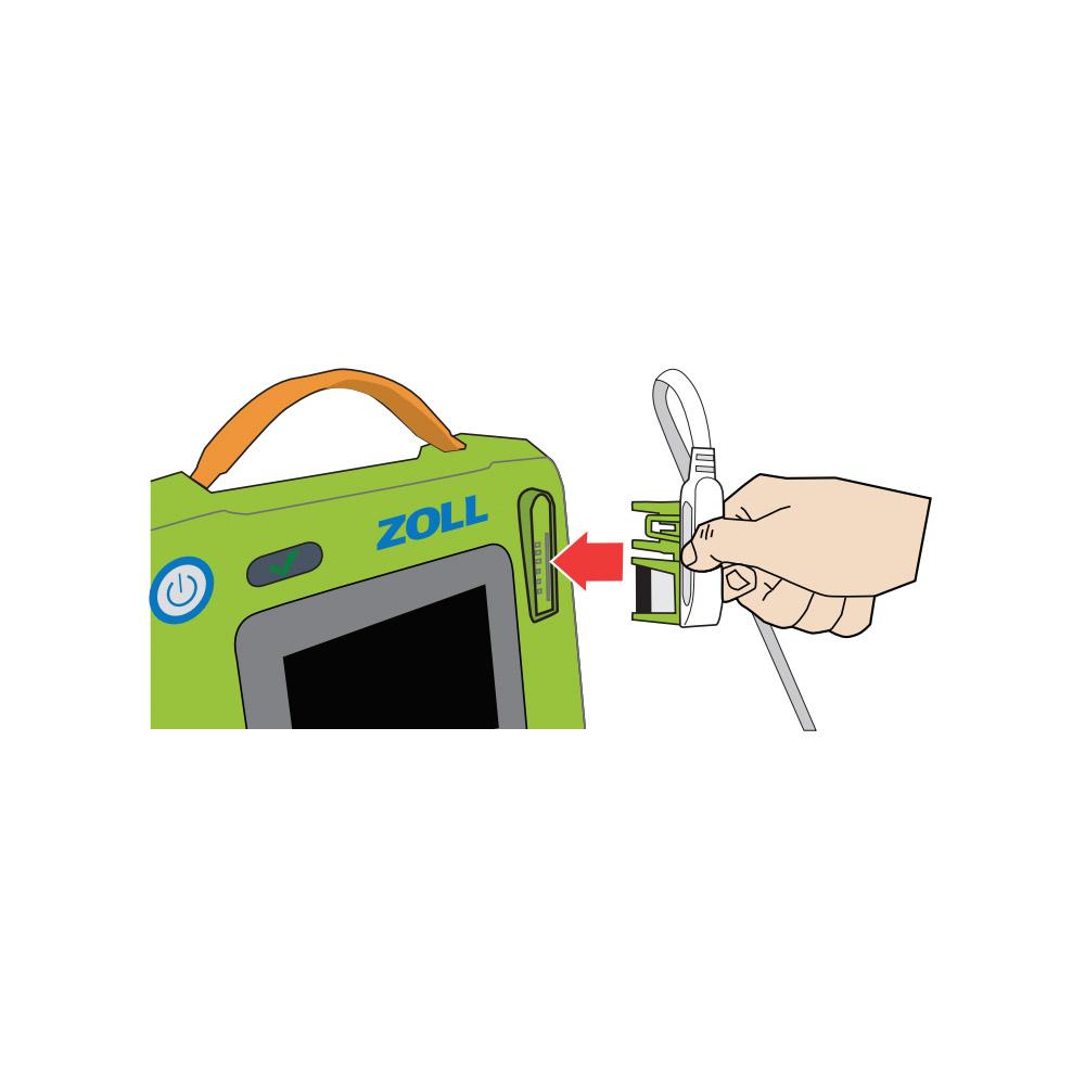 Steek de connector van de kabel voor de CPR Uni-padz in de elektrodeaansluiting op de AED 3